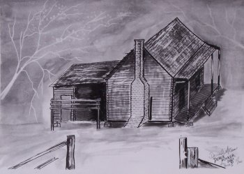 Pen and ink old house drawing folk art architecture.